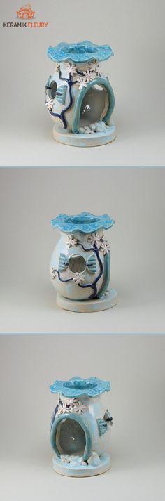 Keramik Duftlampe speziell für die Dawanda Fabaktion JanuarKristall angefertigt