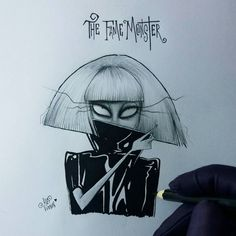 lady gaga - the fame monster Tim Burton Drawings Style, Tim Burton Art Style, Amazing Drawings, Cool Drawings, Drawing Sketches, Desenhos Tim Burton, Desenhos Halloween, Lady Gaga The Fame, Tim Burton Characters