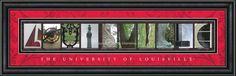 Louisville University Framed Letter Art Print!! Great graduation gift!!