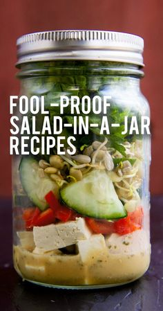 Salad-In-A-Jar How to Make Mason Jar Salads + 4 Fool-Proof Salad in a Jar Recipes - Wholefully Healthy Meal Prep, Healthy Snacks, Healthy Eating, Healthy Recipes, Mason Jar Meals, Meals In A Jar, Mason Jars, Salad Recipes, Jar Recipes