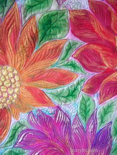 Art quilt wall hanging fiber art Zinnias by marytequilts on Etsy