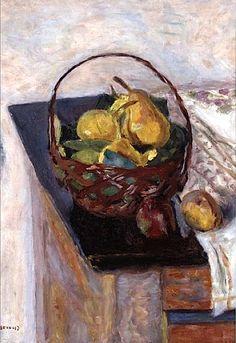 유 Still Life Brushstrokes 유 Nature Morte Painting by Pierre Bonnard | The Basket of Fruit, 1922