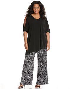 Simply Chic matte Jersey printed wide leg pant by Lane Bryant | Lane Bryant
