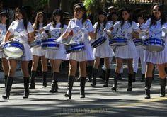 Las chiroleras alegraron con su belleza y juventud el desfile por los festejos patrios. Foto: IP Paraguay