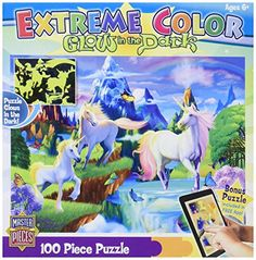 MasterPieces Puzzle Company Extreme Color GlowInTheDark Unicorns Jigsaw Puzzle 100Piece Art by Michael Searle *** You can get more details by clicking on the image. Note:It is Affiliate Link to Amazon.