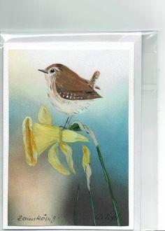 Grüße - Grußkarte -  Zaunkönig, handgemalt - ein Designerstück von Vogelmalerin bei DaWanda