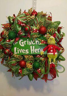 The Grinch Deco Mesh Christmas Wreath | eBay