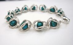 Turquoise and Sterling Silver Caged Bracelet