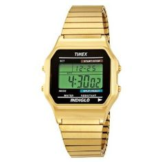 Fancy - Timex Men's Classic Digital Gold-Tone Expansion Band Stainless Steel Bracelet Watch