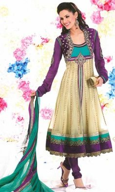 Beige and Deep Purple Anarkali Churidar Kameez Set