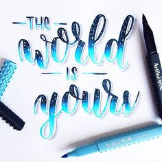 The world is yours today papi, happy birthday to my love . We are heading to Antwerp for a day of celebrating! Brush Lettering Quotes, Calligraphy Handwriting, Hand Lettering Quotes, Calligraphy Quotes, Creative Lettering, Lettering Styles, Calligraphy Letters, Watercolor Lettering, Modern Calligraphy