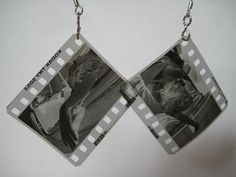 upcycled negative film earrings