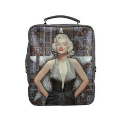 """Marilyn Monroe Square Backpack (Model 1618).Marilyn Monroe in golden dress, big silver star and a lot of tiny patterns as a background, brown and gray colors. Portrait from the """"Old Hollywood"""" series . Celebrity art, fine art portrait, acrylic painting.  © Clipso-Callipso / Julia Khoroshikh #marilyn, #marilynmonroe, #monroe, #marylin,  #hollywood, #classical, #star, #portrait, #painting, #art, #celebrity, #silver, #movie, #actress, #icon, #iconic, #acrylic, #artist, #modern, #figur..."""