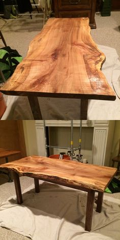 Constructed from live edge curly maple and black walnut, this coffee table makes a statement.
