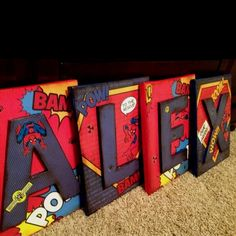 Children's LETTERS Name Wall Decor SPIDERMAN by Modgeandapodge - found the style of how I'll re-do Ryan's an Ethan's once they start sharing a room: