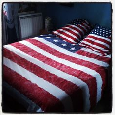 American Flag duvet cover, or a large white sheet to make it myself. Or a retired American flag that was hanging outside any building would be my favorite. (Most are free when the company puts up a new flag!)
