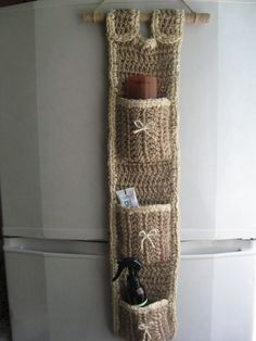 Organizer pendant Pockets store on weight for bathroom for anteroom hanging pockets narrow organizer Organizer pendant Crochet Gifts, Knit Crochet, Bathroom Organisation, Organization, Crochet Organizer, Crochet Home Decor, Crochet Fashion, Crochet Accessories, Diy Crafts To Sell