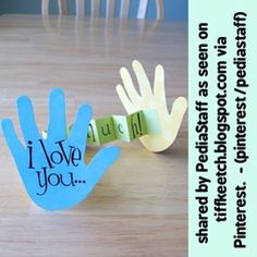 Great fine motor therapy idea for Valentine's Day (or Mother's/Father's Day) Card - Maybe write Valentine's vocab words on the hands?  Or describing words for the recipient?  Any other ideas to use for speech? - As seen on tiffkeetch.blogspot.com via our Pinterest boards - #occupationaltherapy #pediOT #slpeeps #schoolslp #Padgram