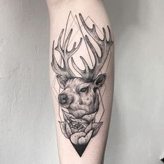 WEBSTA @ wpkorvis - Elk tattoo today #wpkorvis #tattoo #dotwork #blackwork #blackink #blacktattoo #black #ink #graphic #elktattoo #geometry