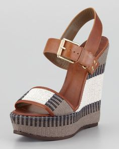 Belstaff Striped Canvas Wedge Sandal - Neiman Marcus #boho #chic