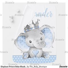 Elephant Prince Baby Blankets Elephant Baby Blanket, Cute Elephant, Baby Shower Gifts, Baby Gifts, Polka Dot Background, Soft Baby Blankets, Baby Boutique, Consumer Products, Cool Patterns