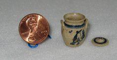 Jane Graber crock with lid dollhouse miniature
