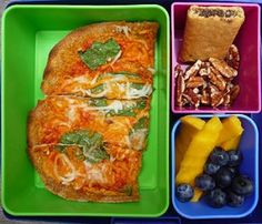 Pizza Tostada, Fresh Mango Slices and Blueberries, Walnuts, Whole Wheat Fig Bar