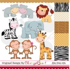 Jungle Cute Animals digital clipart and digital by Cherryclipart, $5.50