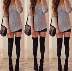 Oversized sweater and above the knee socks <3