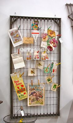 ChiPPy! - SHaBBy!  Re-Purposed Bed Spring with Vintage Garden Ephemra... PERFECT FOR  A TRELLIS AS WELL!*!*!