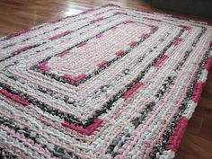 Hot Pink Line Round Crocheted Rag Rug by elevensides on Etsy