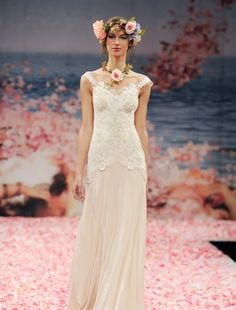Claire Pettibone - Tip of the Shoulder Sheath Gown in Lace