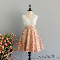 My lady II - Spring Summer Sundress White Lace Top Pale Pink Floral Bridesmaid Dress White Lace Dress Pink Party Dress Floral Dress XS-XL