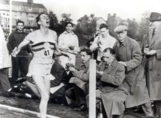 May 6, 1954. Medical student Roger Bannister becomes the first person to run a sub-four minute mile in 3:59:04, at a track meet in Oxford, England.