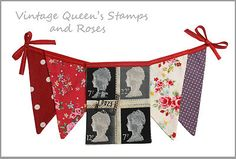 alternative colour Fabric Bunting, Vintage Stamps, Vintage Country, Union Jack, Tea Party, Shabby, Shop Windows, Queen, Chic