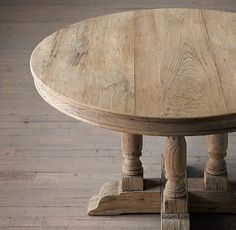 Willems Round Dining Table Aged Elm - here's a fun round version...  (make an expandable one that could become an oval?)