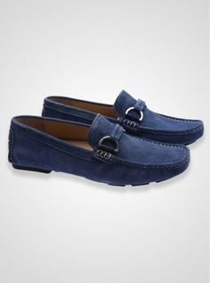 Blue suede loafers.