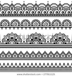 Mehndi, Indian Henna tattoo seamless pattern, design elements by RedKoala great for a border stencil on painted subfloor Henna Tattoo Designs, Mehndi Designs, Mehndi Tattoo, Tattoo Ideas, Ankle Henna Tattoo, Ankle Henna Designs, Henna Designs Drawing, Thigh Band Tattoo, Thigh Henna