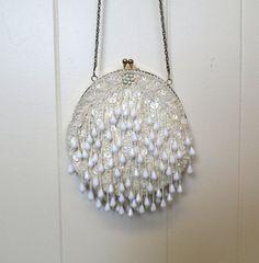 Vintage Beaded Purse  White Jasmine by rockinrubysvintage on Etsy  So beautiful!!!!