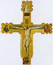 Olivuccio di Ciccarello - Crocifisso con Cristo risorto, la Madonna, S. Giovanni Battista e S. Francesco orante - 1396 - Macerata Feltria (PesaroUrbino), Chiesa di S. Michele Arcangelo