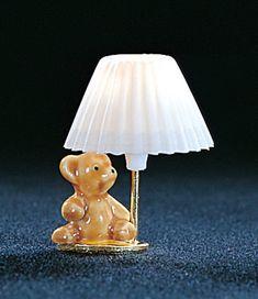 Teddy Bear Table Lamp - This miniature teddy bear dollhouse table lamp is Haunted Dollhouse, Modern Dollhouse, Diy Dollhouse, Dollhouse Miniatures, Dollhouse Lights, Miniature Rooms, Miniature Furniture, Dollhouse Furniture, Factory Direct Crafts