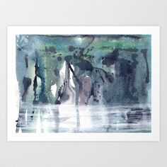 Midnight Bayou Abstract Landscape Painting Art Print by TheAtticTheory - $16.90