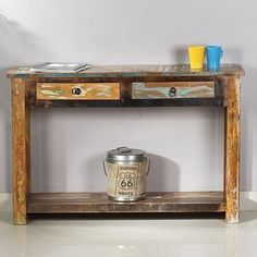 Toulouse 2 Drawer Recycled Wood Console Hall Table