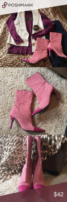 """Sam Edelman pink plaid booties, sz 8 So fun!  Sam Edelman boots with hot pink patent toe & heel with pink, yellow, orange & ivory plaid fabric.  Heel is 3.5"""". Boot is 11.5"""" tall from bottom of heel to top.  Small digs in heels from previous owner. Worn indoors by me for only a few hours.  This is a re-posh.  Vest, bracelet & necklace available in separate listings--bundle discount available. Shirt & jeans not for sale. Sam Edelman Shoes Ankle Boots & Booties"""