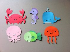 Set of 6 Underwater Sea Animals - Whale, Octopus, Fish, Jellyfish, Seahorse, Crab