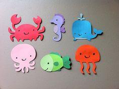 Set of 6 Underwater Sea Animals - Whale, Octopus, Fish, Jellyfish, Seahorse, Crab