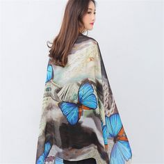 Large European American fashion colorful blue butterfly print scarf spring summer thin high grade silk scarf shawls & wraps-in Scarves from Women's Clothing & Accessories on Aliexpress.com | Alibaba Group