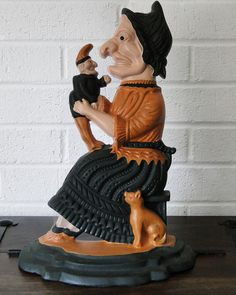 Vintage Cast Iron Witch Doorstop by GrayVervain on Etsy, $55.00