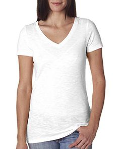 Next Level Womens Slub Crossover V-Neck Tee 6840 -WHITE