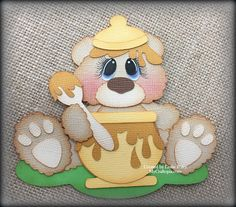Honey Bear Premade Scrapbooking Embellishment Paper Piecing